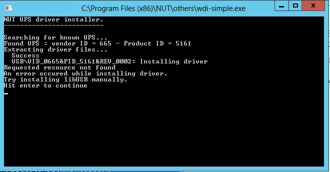 Installation Network UPS Tools (NUT) unter Windows Server 2012 USB